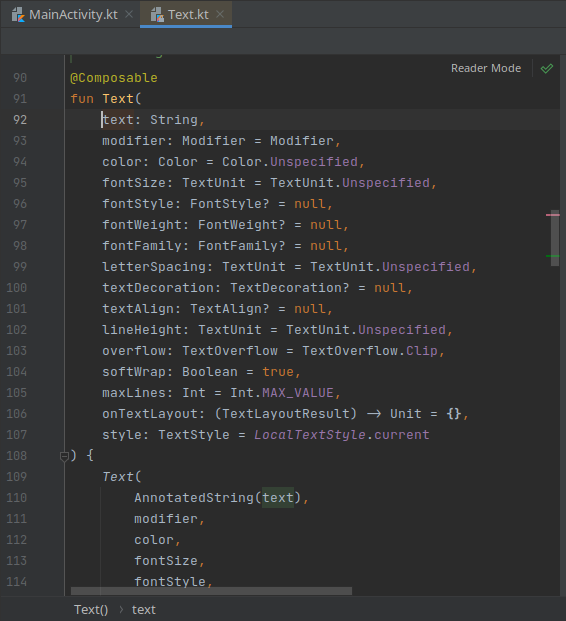 function text composable