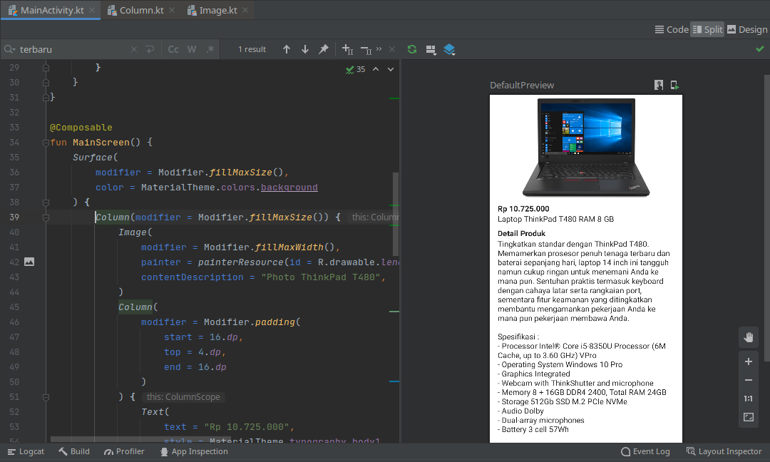 preview layout text composable