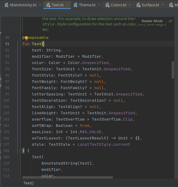 text function jetpack compose